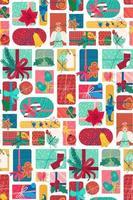 Neujahrsgeschenkboxen vertikales nahtloses Muster vektor