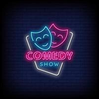 komedi visa neon skyltar stil text vektor