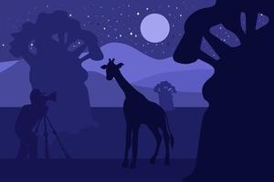 djurliv, naturfotograf platt vektorillustration vektor