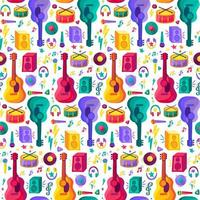 musikinstrument platt sömlöst mönster vektor