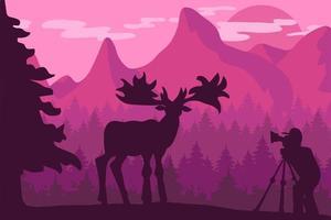 Tierwelt, flache Vektorillustration des Naturfotografen vektor