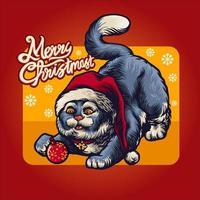 Weihnachtsniedliche Katze in der roten Weihnachtsmannhut-Feiertagskartenvektorillustration vektor