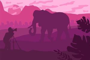 djurliv, naturfotograf platt illustration vektor