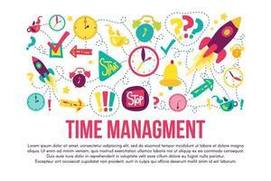 Zeitmanagement Aufkleber Set gesetzt vektor