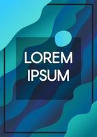 abstrakt flytande vågor blå bakgrund med textram vektor