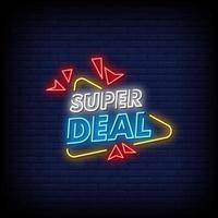 super deal neonskyltar stil text vektor