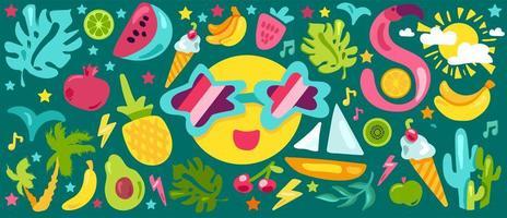 tropische Sommer flache Illustrationen gesetzt