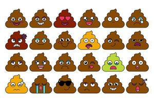 turd, poop emoji sticker set vektor