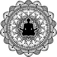 Yogi sitzt im Lotus Pose schwarze Silhouette vektor