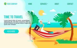 flache Landingpage-Vorlage der Tourismusagentur vektor