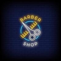 barber shop neonskyltar stil text vektor