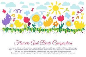 fåglar och blommor platt banner med copyspace vektor
