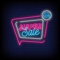 Super Sale Leuchtreklamen Stil Text Vektor