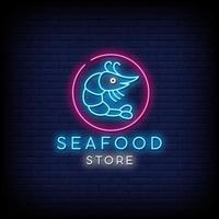 skaldjur butik neon skyltar stil text vektor