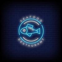 Meeresfrüchte Restaurant Leuchtreklamen Stil Text Vektor