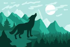 Landschaft mit flacher Vektorillustration der Wolfsschattenbild vektor