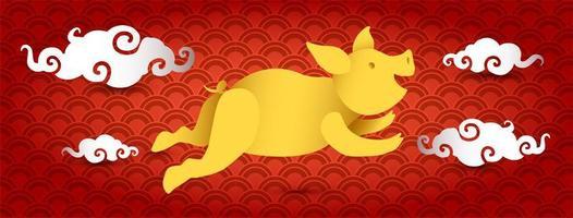 Schwein Papier geschnitten 3D Banner Design