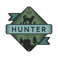 Retro-Logo-Vorlage des Jägerlagers vektor