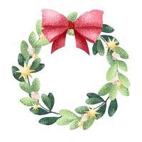 julkrans med rosett i akvarellstil vektor