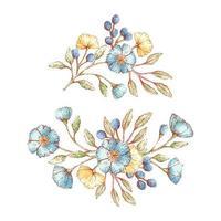 akvarell stil vintage blommor buketter vektor