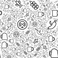 lineares nahtloses Muster von Bier und Snacks vektor