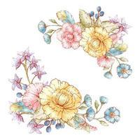 Vintage Blumensträuße im Aquarellstil vektor
