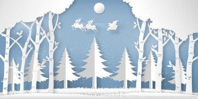 Papierschnitt von Weihnachtsmann am Himmel im Wald vektor