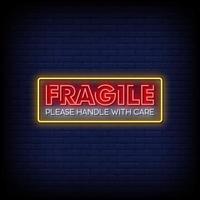 fragile Leuchtreklamen Stil Textvektor vektor