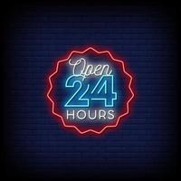 öppet 24 timmar neonskyltar stil text vektor