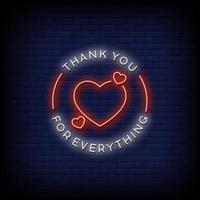 Vielen Dank für alles Neon Zeichen Stil Text Vektor