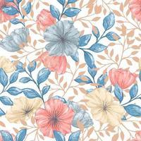 akvarell stil retro sömlös blommönster vektor