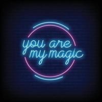du är min magiska neonskyltar stil textvektor vektor