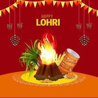 lycklig lohri firande gratulationskort eller banner