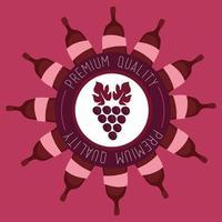 Wein Premium-Poster mit Flaschen und Trauben vektor
