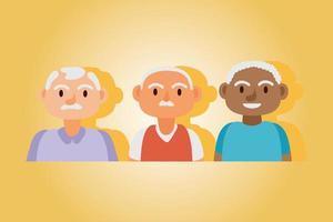 Interracial alte Männer aktive Senioren vektor