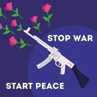 internationaler Tag des Friedens und stoppen Sie Kriegsbeschriftungen mit Gewehrwaffe vektor