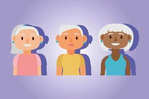 Interracial alte Frauen aktive Senioren Charaktere vektor