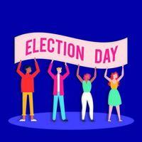 valdagens demokrati med människor och banner