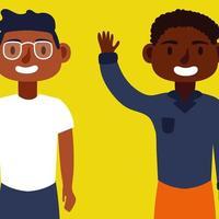junge afro Männer Vielfalt Charaktere vektor