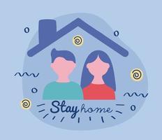 bo hem bokstäver kampanj med par i ett hus vektor