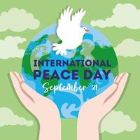Internationaler Tag des Friedens Schriftzug mit Taube und Händen heben den Planeten Erde vektor