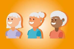 interracial alte Frauengruppe, aktive Senioren Charaktere vektor