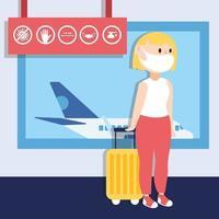 reisesicheres Kampagnenplakat mit reisender Frau, die Gesichtsmaske im Flughafen trägt vektor