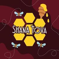 Shana Tova Schriftzug mit fliegenden Bienen und Honig vektor