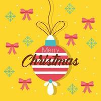glückliche frohe Weihnachtsfeierkarte mit Ball und Bögen