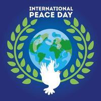 Internationaler Tag des Friedens Schriftzug mit Taube und Planet Erde vektor