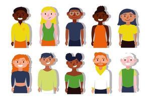 grupp av interracial människor, inkludering koncept vektor