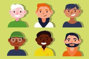 grupp av interracial män, inkludering koncept vektor