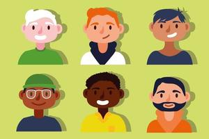 Gruppe interracial Männer, Inklusionskonzept vektor