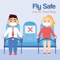 Fly Safe Kampagne Schriftzug Poster mit Menschen in Flugzeugstühlen vektor